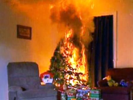 Christmas Tree On Fire.Holiday Christmas Tree Fire Safety Rapid Recovery Service